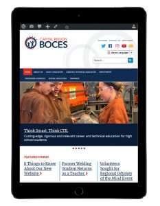 Screenshot of the new BOCES website on a tablet