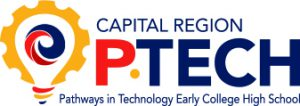 Capital Region Pathways in Technology Early College High School logo with lightbulb