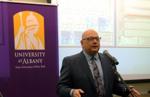 Capital Regiona BOCES' Capital Region BOCES' Senior Executive Officer Joseph P. Dragone speaks at a news conference at the University of Albany