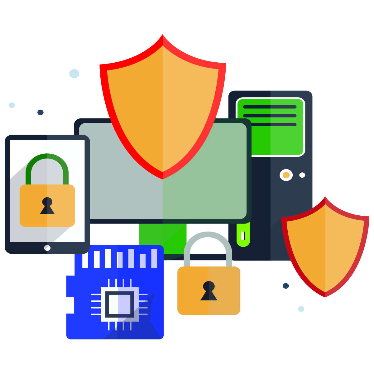 electronic devices, shields and locks