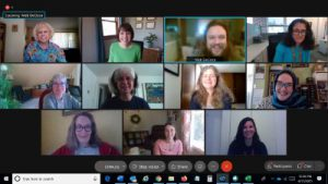 Members of Capital Region BOCES are featured on a computer screen in a virtual call.